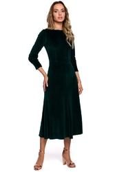 Welurowa sukienka z ozdobnym marszczeniem na rękawach - zielona