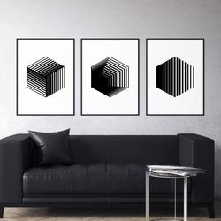 Zestaw trzech plakatów - hexagon 3d , wymiary - 20cm x 30cm 3 sztuki, kolor ramki - czarny