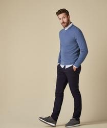 Pullover v-neck z fakturą niebieski s