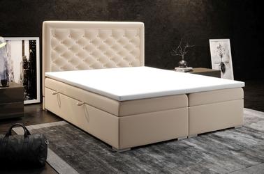 Eleganckie tapicerowane łóżko kontynentalne do sypialni alessio z pojemnikiem na pościel