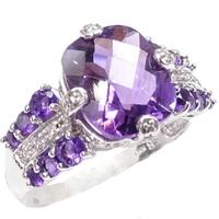 Niagara blasku złoty pierścionek z ametystem, diamentami 5,5 ct