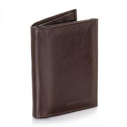 Męski skórzany portfel klasyczny brodrene a-01 brązowy