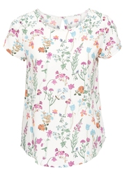 Bluzka, krótki rękaw bonprix biel wełny w kwiaty