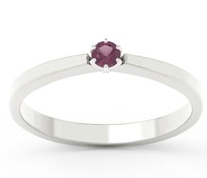 Pierścionek zaręczynowy z białego złota z rubinem cp-2410b - białe  rubin