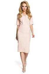 Pudrowa elegancka sukienka ołówkowa z rękawem 12
