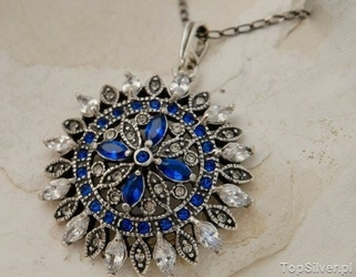 Ambrosia - srebrny wisior szafiry i kryształy