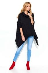 Czarny luźny sweter z golfem z wydłużonymi bokami
