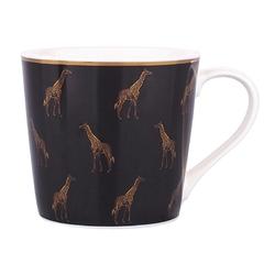 Kubek do kawy i herbaty porcelanowy altom design dekoracja żyrafa 350 ml czarny