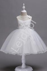 Biała krótka sukienka komunijna z kwiatkami 3d  700
