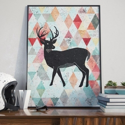 Deer design - plakat designerski , wymiary - 60cm x 90cm, ramka - biała