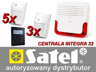 Zestaw alarmowy satel integra 32, klawiatura sensoryczna, 5 czujników ruchu pet, 3 czujniki ruchu dualne pet, sygnalizator zewnętrzny sd-600 - możliwość montażu - zadzwoń: 34 333 57 04 - 37 sklepów w całej polsce
