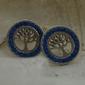 Szafirowe drzewo - srebrne kolczyki z szafirem