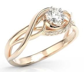 Pierścionek z różowego złota z białym szafirem i brylantami bp-7130p - różowe  szafir white