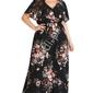 Kwiatowa czarna długa sukienka plus size
