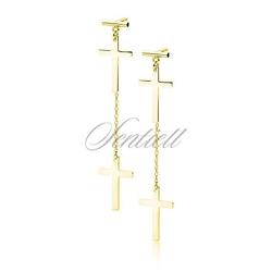 Srebrne 925 pozłacane kolczyki - krzyżyki z łańcuszkiem - żółte złoto