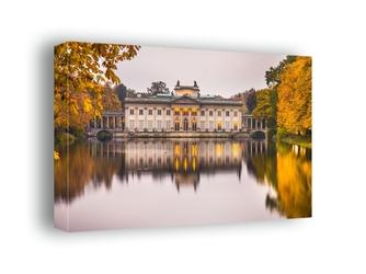 Warszawa pałac na wodzie jesienny pałac - obraz na płótnie wymiar do wyboru: 70x50 cm