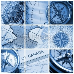 Tapeta ścienna kolaż kompasu i mapy