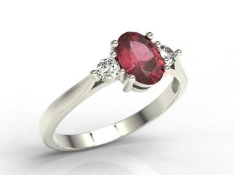 Pierścionek z białego złota z rubinem i brylantami ap-31b - białe  rubin
