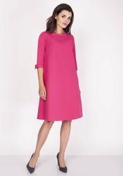 Różowa trapezowa sukienka mini z uroczymi kokardkami