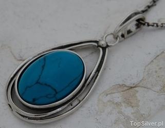Melo - srebrny wisior z turkusem