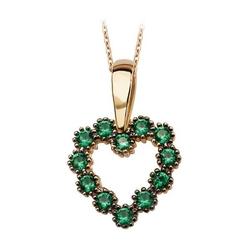 Staviori wisiorek, żółte złoto 0,585. serce z zielonymi cyrkoniami. wysokość 16 mm