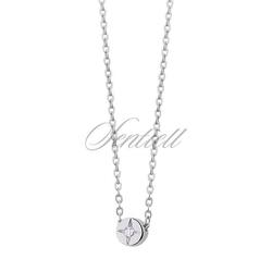 Srebrny naszyjnik pr.925 z okrągłą białą cyrkonią zawieszką - biała  rodowanie