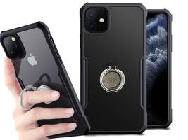 Etui ring holder clear armor xundd do apple iphone 11 czarne + szkło alogy