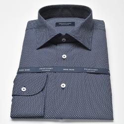 Granatowa koszula męska normal fit w białe kółeczka 40