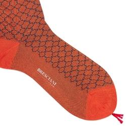 Bawełniane pomarańczowe skarpetki męskie w błękitny geometryczny wzór. l