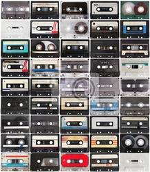 Plakat kolekcja retro taśmy audio