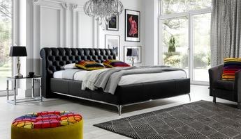 Łóżko tapicerowane charles 140x200 glamour