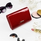 Skórzany portfel damski czerwony lorenti - czerwony