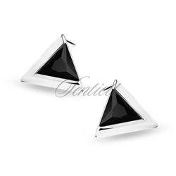 Srebrne kolczyki pr.925 trójkąty z czarną cyrkonią - rodowanie