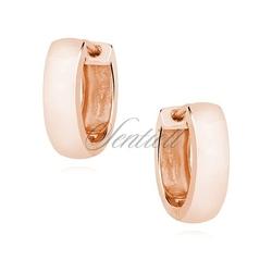 Srebrne kolczyki kółka - wysoki połysk - różowe złoto - różowe złoto