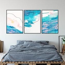 Zestaw trzech plakatów - turquoise abstract , wymiary - 60cm x 90cm 3 sztuki, kolor ramki - biały