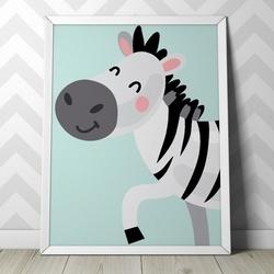 Zebra - plakat dla dzieci , wymiary - 18cm x 24cm, kolor ramki - biały