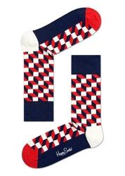 Skarpetki Happy Socks Filled Optic - FO01-068 - granatowe w biało-czerwone kwadraty