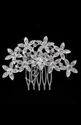 Ślubny grzebyk z kwiatowym wzorem z kryształkami - spinka do włosów