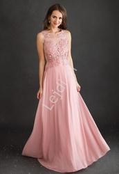 Jasno różowa suknia dla druhny, na studniówkę, na wesele, zdobiona koronkowymi kwiatami 1362