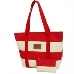 Plażowa torebka w paski  marynarska czerwona