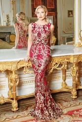 Fenomenalna suknia wieczorowa o kroju syreny, czerwona w złoto czerwone cekinowe wzory, by stephanie pratt 1856