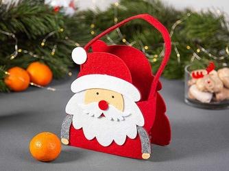 Opakowanie świąteczne na prezent  torba filcowa  torebka prezentowa dla dzieci altom design mikołaj, czerwona