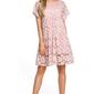 Różowa luźna sukienka z krótkimi rękawami