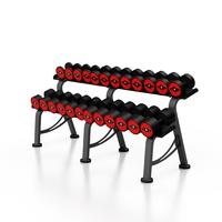 Zestaw hantli stalowych gumowanych 5-32,5 kg czerwony połysk ze stojakiem m mp-hsgk5-m-k1 - marbo sport