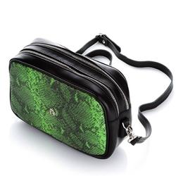 Skórzana torebka na ramię kopertówka z wzorem węrza baleine r156 zielona
