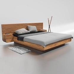 Drewniane łóżko do sypialni mutombo z szafkami nocnymi