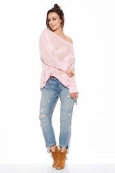 Ażurowy lekki sweter oversize - pudrowy