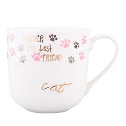 Kubek do kawy i herbaty porcelanowy altom design cat  kot 400 ml z wytłaczaną złotą dekoracją