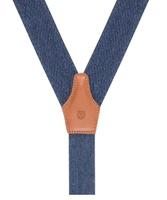 Niebieskie szelki męskie do spodni, uniwersalne z jasnobrązowym zapięciem na guziki lub klipsy
