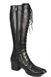 Obuwie kozaki damskie sznurowane skóra naturalna czarne 595 elitabut - czarne